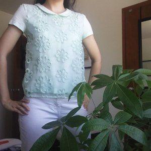 Pistachio/Mint Cotton T-shirt +Earrings
